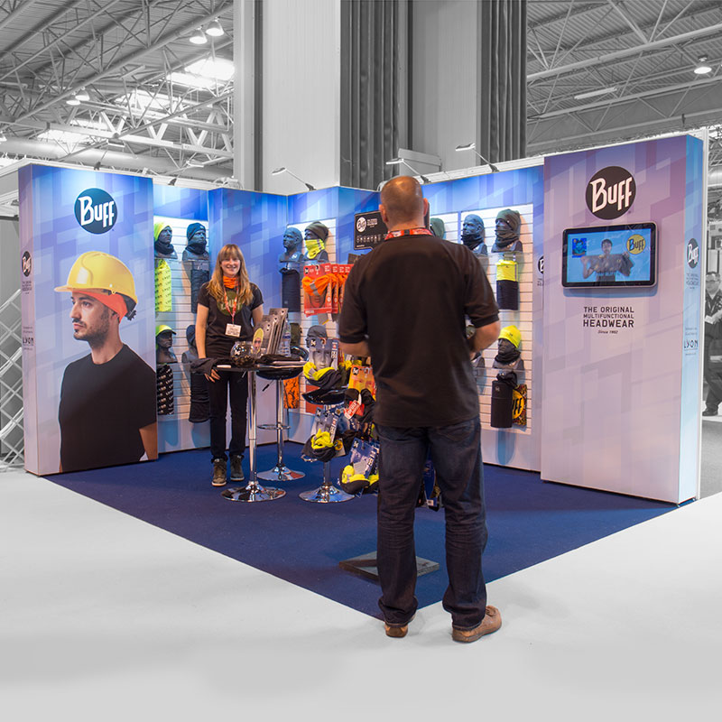 Buff exhibition stand